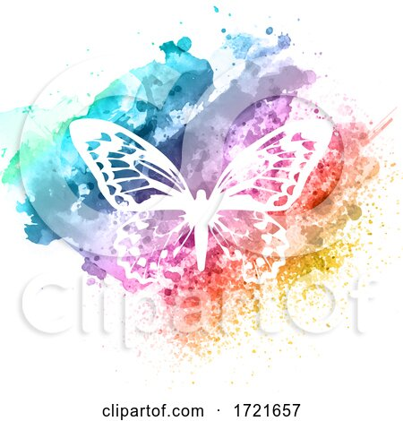 Abstract Butterfly Design on Watercolour Texture by KJ Pargeter