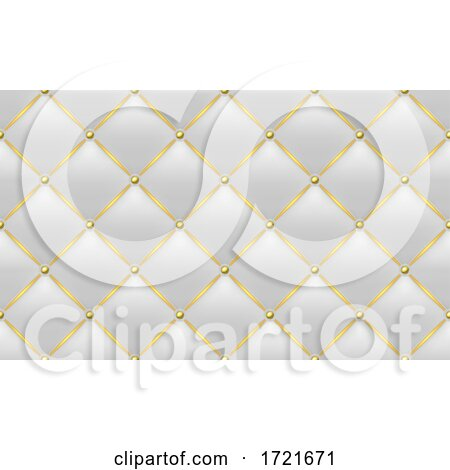 Tufted White Leather and Gold Background by dero