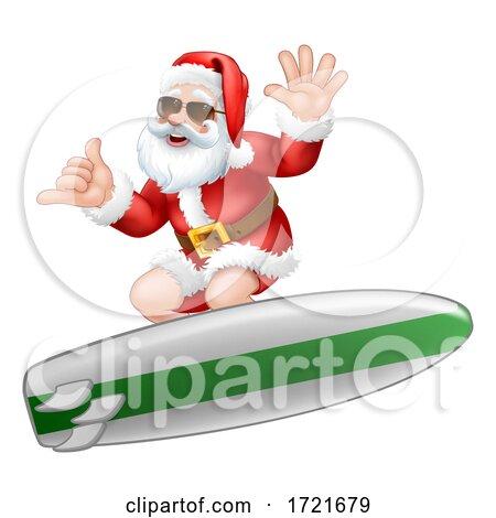 Santa in Sunglasses Surfing Shaka Hand Cartoon by AtStockIllustration