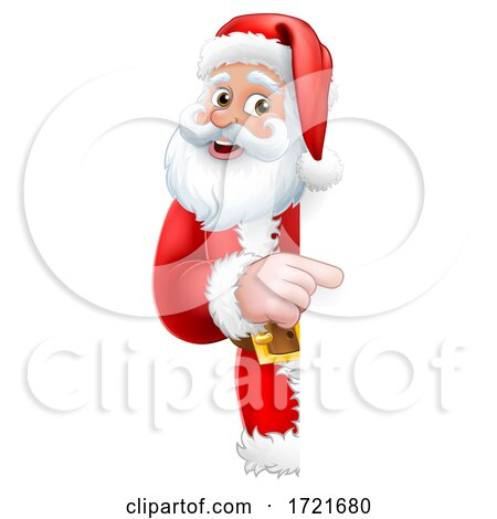 Santa Peeking Christmas Cartoon Sign Pointing by AtStockIllustration
