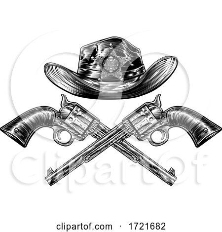 Crossed Pistols and Sheriff Star Cowboy Hat by AtStockIllustration