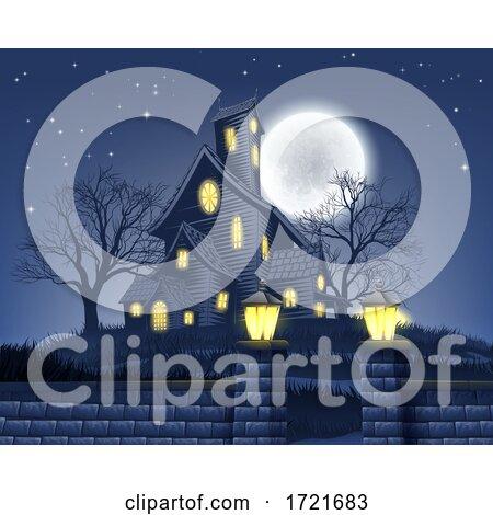 Haunted House Halloween Background by AtStockIllustration