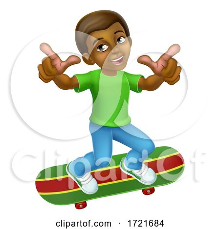 Child Skateboarding Boy Kid Cartoon Posters, Art Prints
