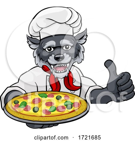 Wolf Pizza Chef Cartoon Restaurant Mascot Sign by AtStockIllustration