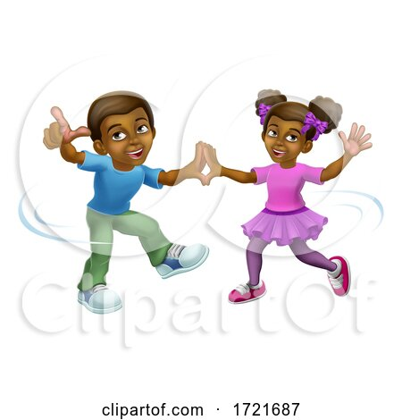 Black Girl and Boy Cartoon Kid Children Dancing Posters, Art Prints