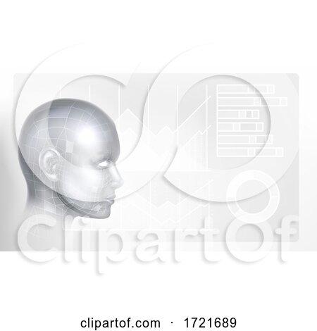 Technology Artificial Intelligence Face Background by AtStockIllustration