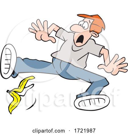 Man Slipping on a Banana Peel by Johnny Sajem