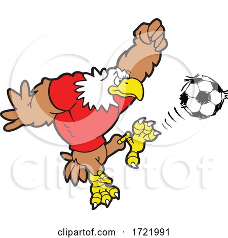 Bald Eagle Soccer Mascot Kicking by Johnny Sajem