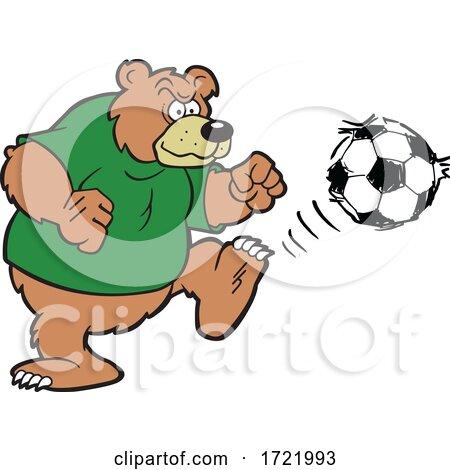 Bear Soccer Mascot Kicking by Johnny Sajem