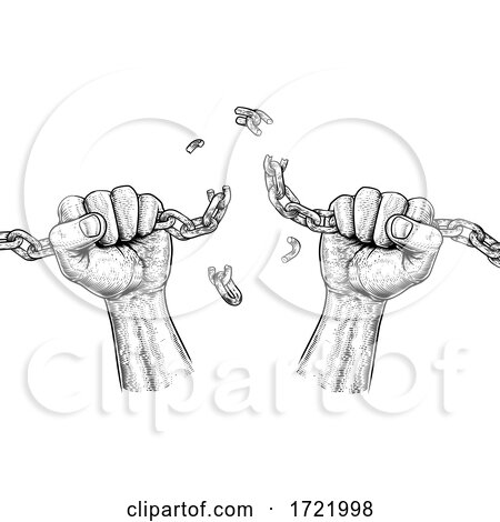 Hands Breaking Chain Links Freedom Design Posters, Art Prints