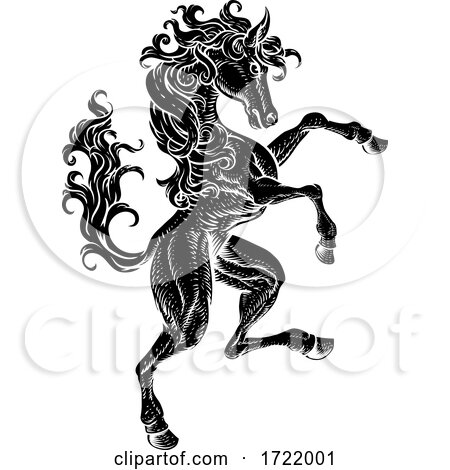 Horse Rearing Rampant Crest Coat of Arms Style by AtStockIllustration