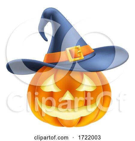 Pumpkin Wearing Witch Hat Halloween Cartoon by AtStockIllustration
