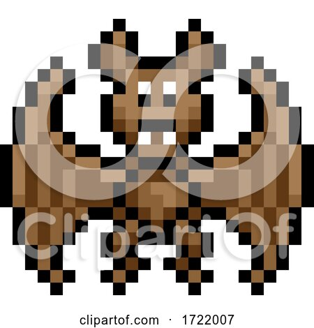 Halloween Vampire Bat Pixel Art Game Icon by AtStockIllustration