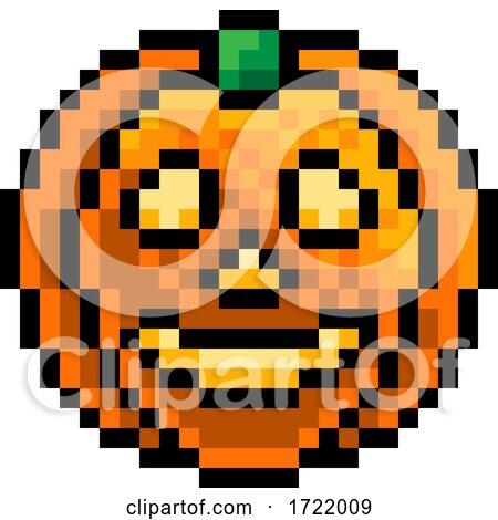 Halloween Pumpkin Lantern Pixel Art Game Icon by AtStockIllustration