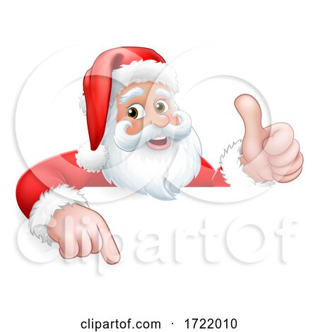 Santa Claus Christmas Peeking Pointing Cartoon by AtStockIllustration