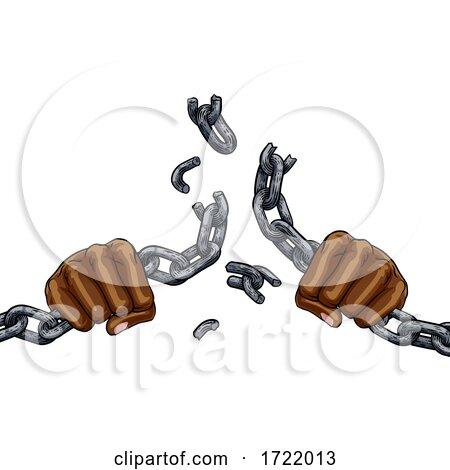 Hands Breaking Chain Links Freedom Design by AtStockIllustration