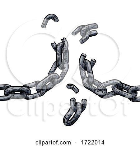 Chain Links Breaking Freedom Design by AtStockIllustration