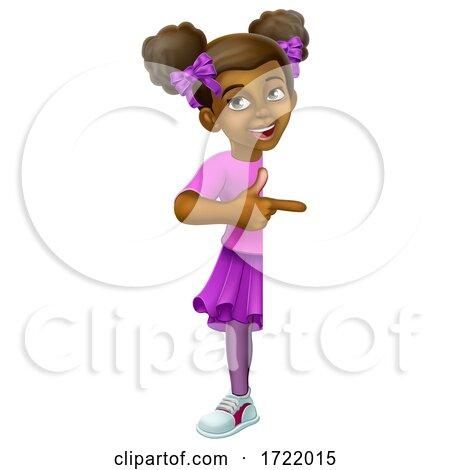 Black Girl Cartoon Child Kid Pointing Sign by AtStockIllustration