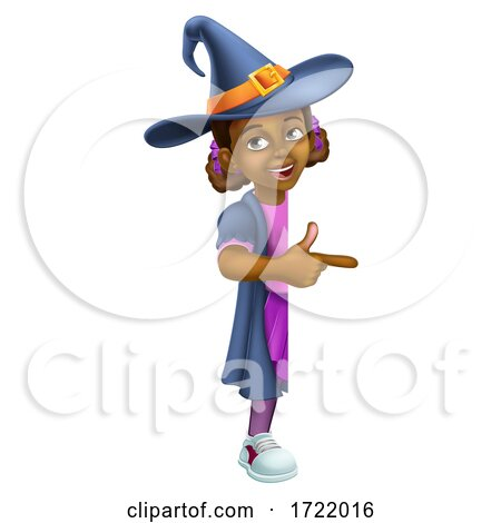 Black Girl Cartoon Child Halloween Witch Sign by AtStockIllustration