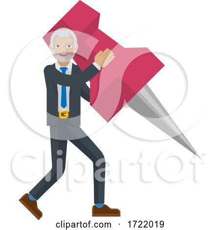 Mature Business Man Holding Thumb Tack Pin Mascot by AtStockIllustration