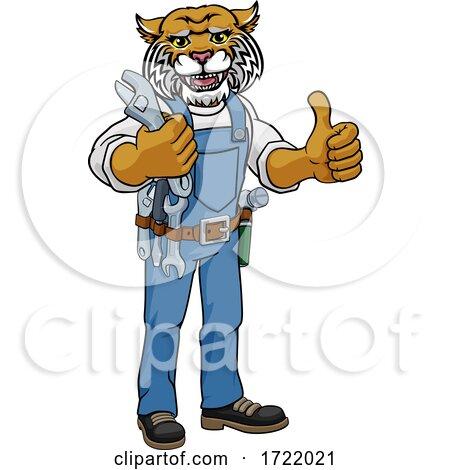 Wildcat Plumber or Mechanic Holding Spanner by AtStockIllustration