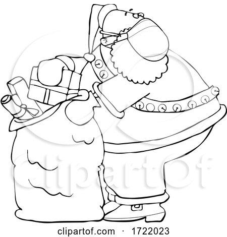 Cartoon Coronavirus Santa Packing His Sack by djart