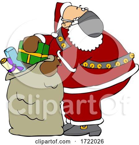 Cartoon Covid Santa Packing His Sack by djart