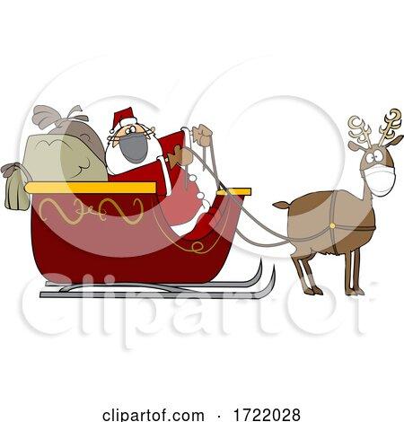 Cartoon Covid Santa and Masked Reindeer by djart