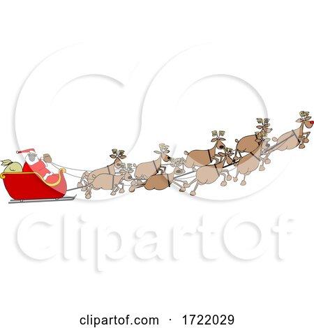 Cartoon Covid Santa Flying His Sleigh by djart