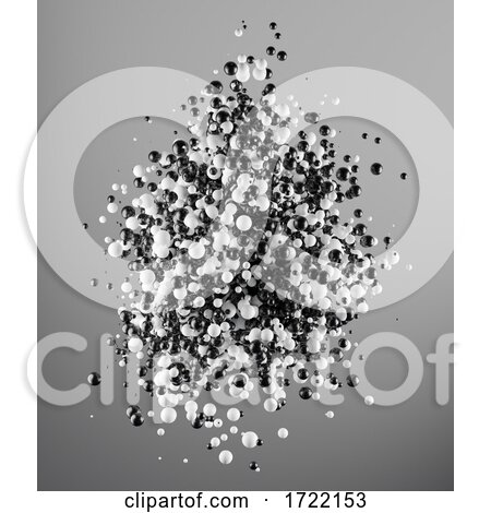 3d Black and White Particle Cloud of Spheres by Steve Young