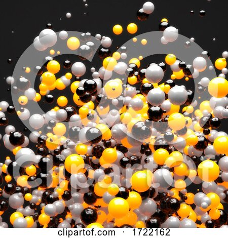 3d Explosion of Yellow Gray and Black Spheres Against a Black Background by Steve Young