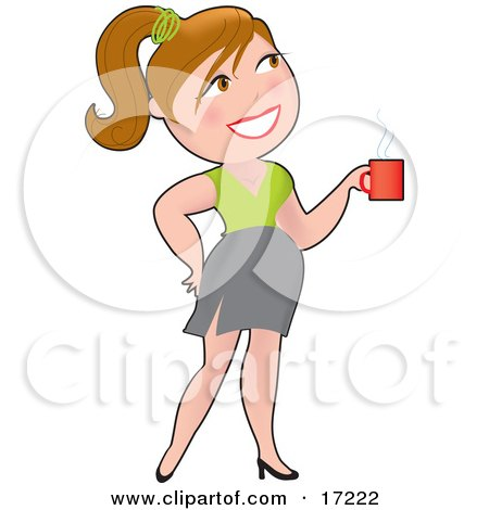 Pretty Caucasian Woman With Her Hair Up In A Pony Tail, Smiling While Drinking A Cup Of Coffee Clipart Illustration by Maria Bell