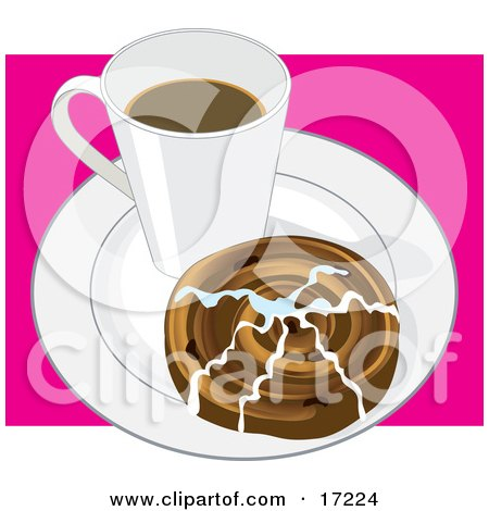 Mug of Hot Coffee and a Cinnamon Bun Topped With Icing on a White Saucer Posters, Art Prints