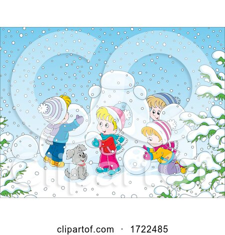 Children Playing on a Winter Day Posters, Art Prints