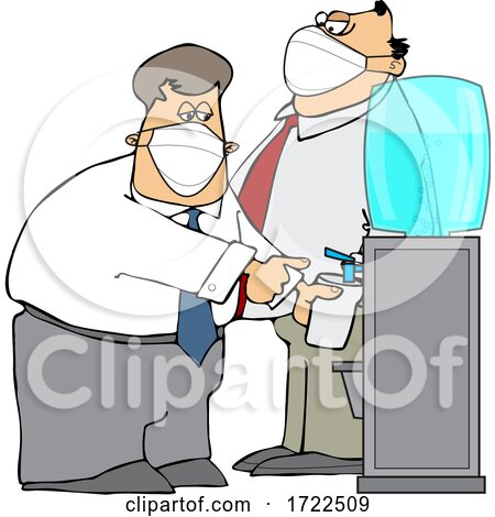 Cartoon Business Men Wearing Masks at the Office Water Cooler by djart