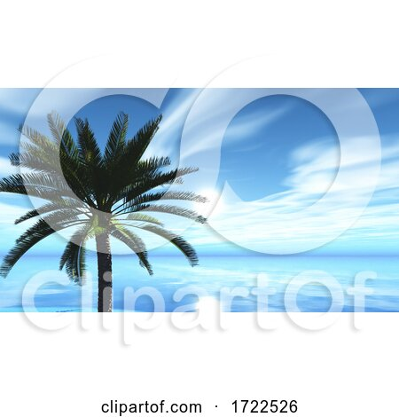 3D Tropical Landscape with Palm Tree Against Ocean by KJ Pargeter