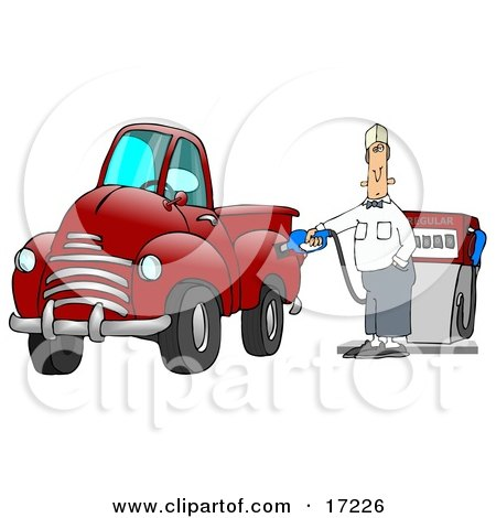 Caucasian Fast Food Manager Man Holding Onto A Gasoline Pump While Filling Up His Red Pickup Truck At A Gas Station  Posters, Art Prints