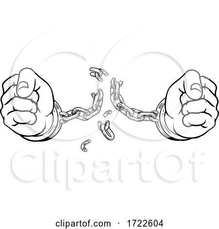 Hands Breaking Chain Shackles Cuffs Freedom Design Posters, Art Prints