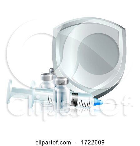 Vaccine Injection Syringe Immunisation Shield by AtStockIllustration
