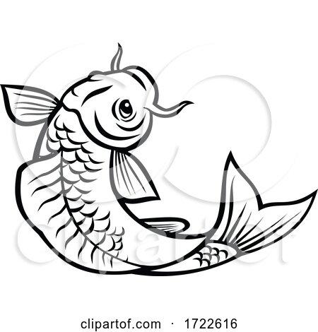 Jinli Koi or Nishikigoi Fish Jumping up Cartoon Black and White Style by patrimonio