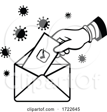American Voter Voting Using Postal Ballot During Pandemic Lockdown Election Retro Black and White by patrimonio