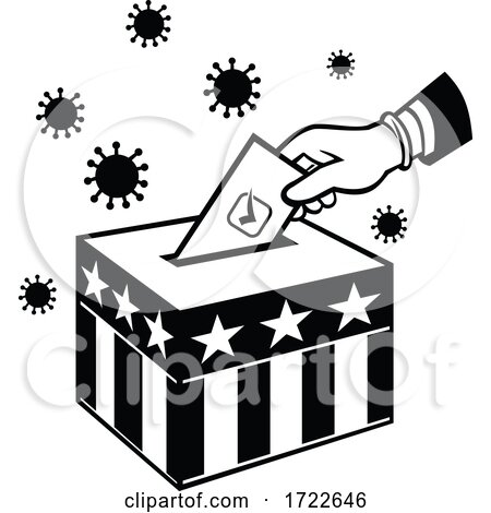 American Voter Voting During Pandemic Lockdown Election Retro Black and White by patrimonio