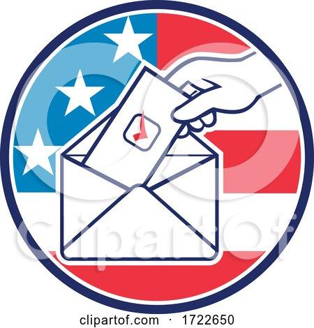 American Voter Voting Using Postal Ballot During Election USA Flag Circle Retro by patrimonio