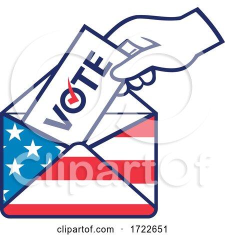 American Voter Voting Posting Postal Ballot During Election USA Flag Envelope Retro by patrimonio
