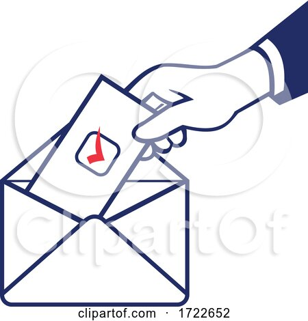 Voter Voting Using Postal Ballot During Election Retro by patrimonio