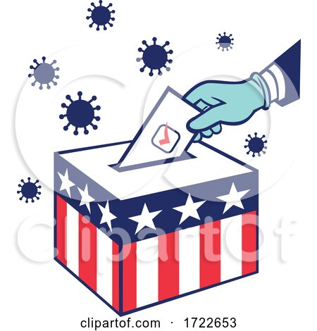 American Voter Voting During Pandemic Lockdown Election Retro by patrimonio