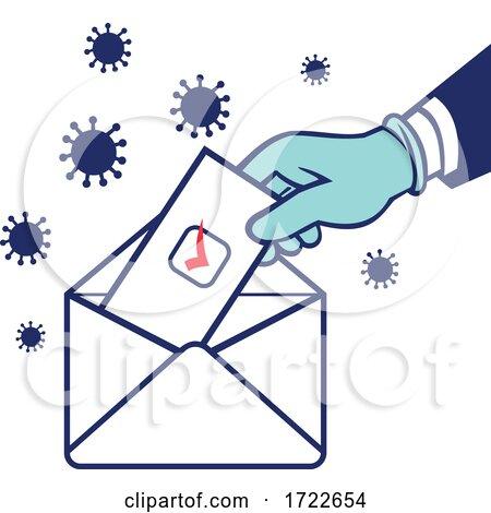 American Voter Voting Using Postal Ballot During Pandemic Lockdown Election Retro by patrimonio