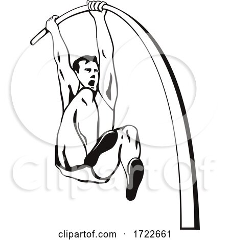 Pole Vaulter with Flexible Pole Jumping over Bar Pole Vaulting Stencil Black and White Retro Style by patrimonio