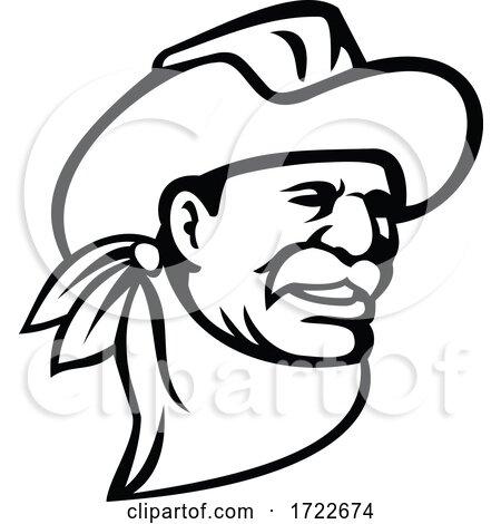 American Cowboy Wearing a Hat Mustache and Bandana Mascot Black and White by patrimonio