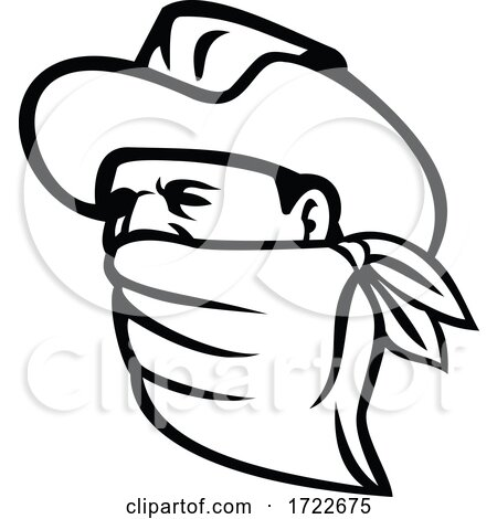 Cowboy Bandit or Outlaw Wearing Face Mask Looking Side Mascot Black and White by patrimonio